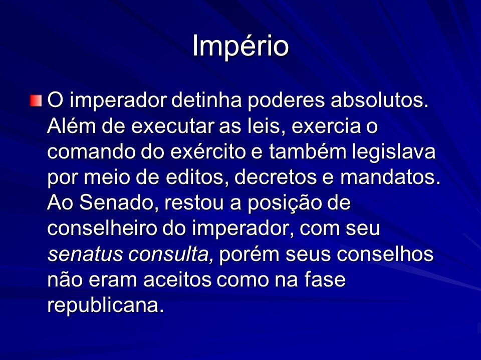 Império O imperador detinha poderes absolutos. Além de executar as leis, exercia o comando do exército e também legislava por meio de editos, decretos