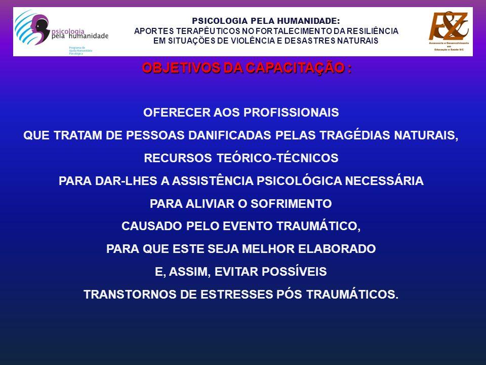 PSICOLOGIA PELA HUMANIDADE: APORTES TERAPÊUTICOS NO FORTALECIMENTO DA RESILIÊNCIA EM SITUAÇÕES DE VIOLÊNCIA E DESASTRES NATURAIS OFERECER AOS PROFISSI