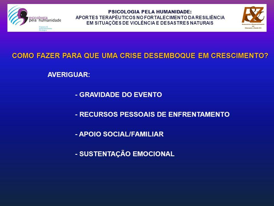 PSICOLOGIA PELA HUMANIDADE: APORTES TERAPÊUTICOS NO FORTALECIMENTO DA RESILIÊNCIA EM SITUAÇÕES DE VIOLÊNCIA E DESASTRES NATURAIS ESSA CAPACITAÇÃO BUSCA OFERECER, ALÉM DO ALÍVIO AOS SOFRIMENTOS CAUSADOS PELA TRAGÉDIA, APOIO PSICOEDUCATIVO AOS PAIS, AUTORIDADES E PROFESSORES; FORNECER FERRAMENTAS PARA LIDAR MELHOR COM AS CRIANÇAS, ADOLESCENTES E ADULTOS TRAUMATIZADOS E, DESTA FORMA, EVITAR SINTOMAS FUTUROS COMO:AGRESSIVIDADES,VIOLÊNCIAS, DIFICULDADES ESCOLARES, PÂNICOS,DESESPERANÇAS,DEPRESSÕES, USO ABUSIVO DE DROGAS E ÁLCOOL E IDÉIAS SUICIDAS, INCLUSIVE, ENTRE OUTROS.