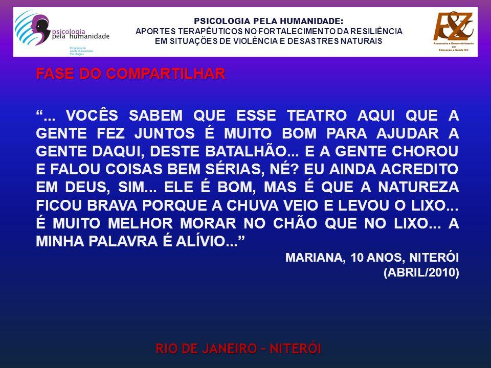 PSICOLOGIA PELA HUMANIDADE: APORTES TERAPÊUTICOS NO FORTALECIMENTO DA RESILIÊNCIA EM SITUAÇÕES DE VIOLÊNCIA E DESASTRES NATURAIS RIO DE JANEIRO – NITE