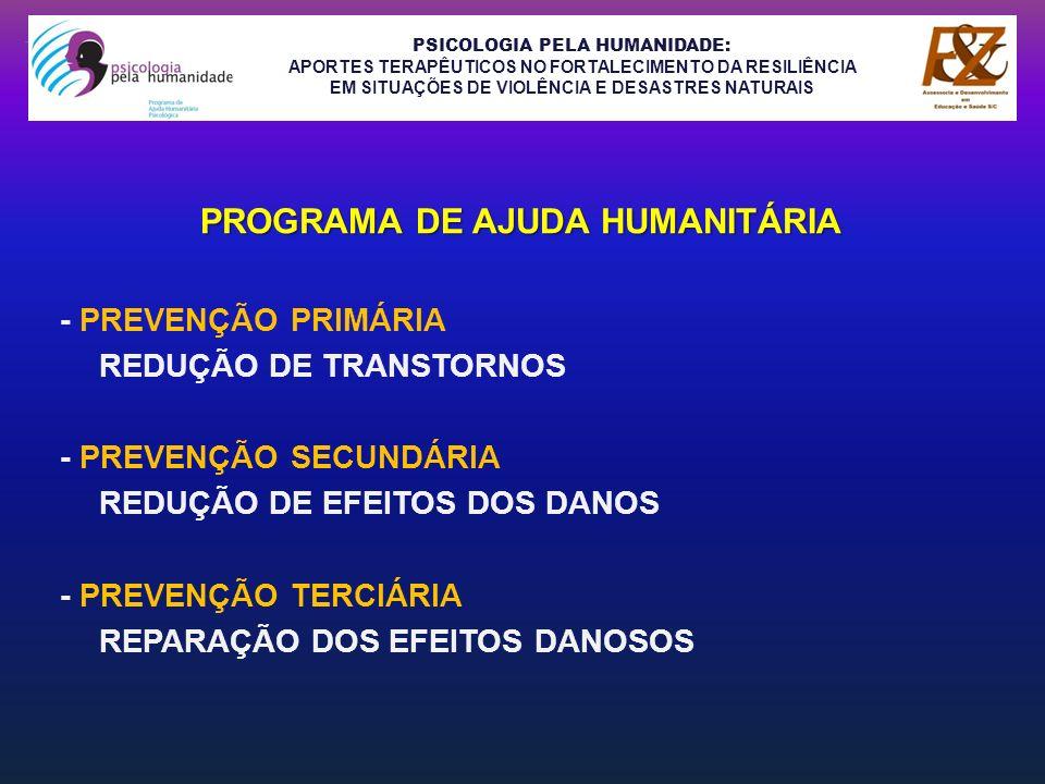 PSICOLOGIA PELA HUMANIDADE: APORTES TERAPÊUTICOS NO FORTALECIMENTO DA RESILIÊNCIA EM SITUAÇÕES DE VIOLÊNCIA E DESASTRES NATURAIS MARANHÃO...