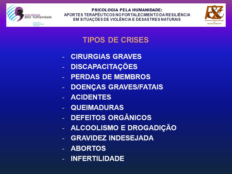 PSICOLOGIA PELA HUMANIDADE: APORTES TERAPÊUTICOS NO FORTALECIMENTO DA RESILIÊNCIA EM SITUAÇÕES DE VIOLÊNCIA E DESASTRES NATURAIS -SÍNDROME DE MORTE INFANTIL REPENTINA -MORTE DE SER QUERIDO -HOMICÍDIO -SUICÍDIO -VIOLÊNCIA DOMÉSTICA -AGRESSÃO SEXUAL -ABUSO SEXUAL EM CRIANÇA -PRISÃO -GUERRAS -CRISES ECONÔMICAS -DIVÓRCIOS LITIGIOSOS TIPOS DE CRISES