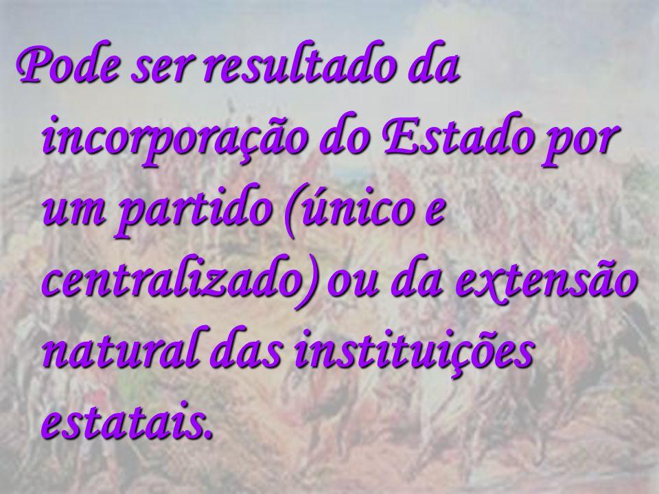 Pode ser resultado da incorporação do Estado por um partido (único e centralizado) ou da extensão natural das instituições estatais.