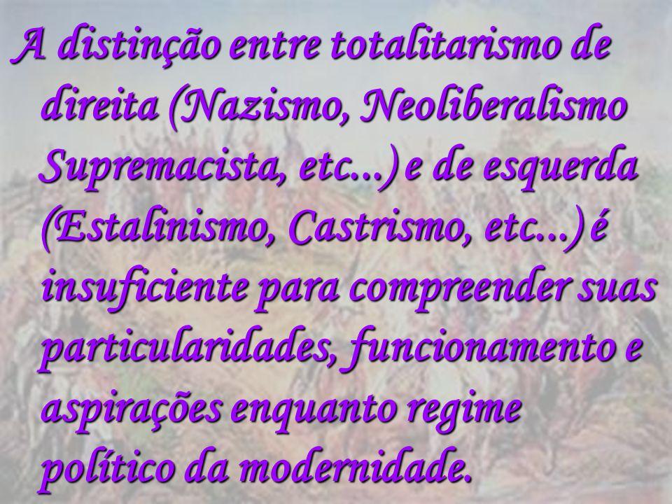A distinção entre totalitarismo de direita (Nazismo, Neoliberalismo Supremacista, etc...) e de esquerda (Estalinismo, Castrismo, etc...) é insuficient