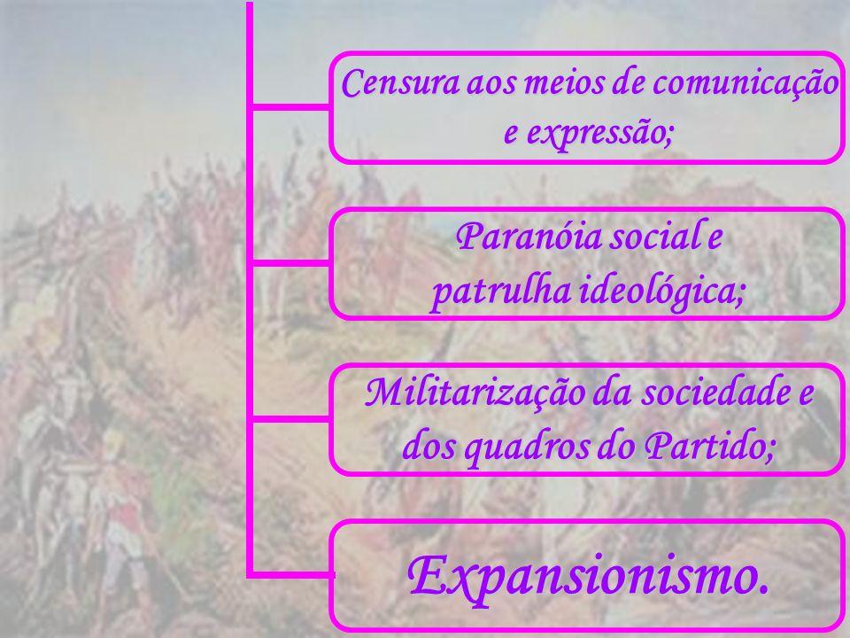 Censura aos meios de comunicação e expressão; Paranóia social e patrulha ideológica; Militarização da sociedade e dos quadros do Partido; Expansionism
