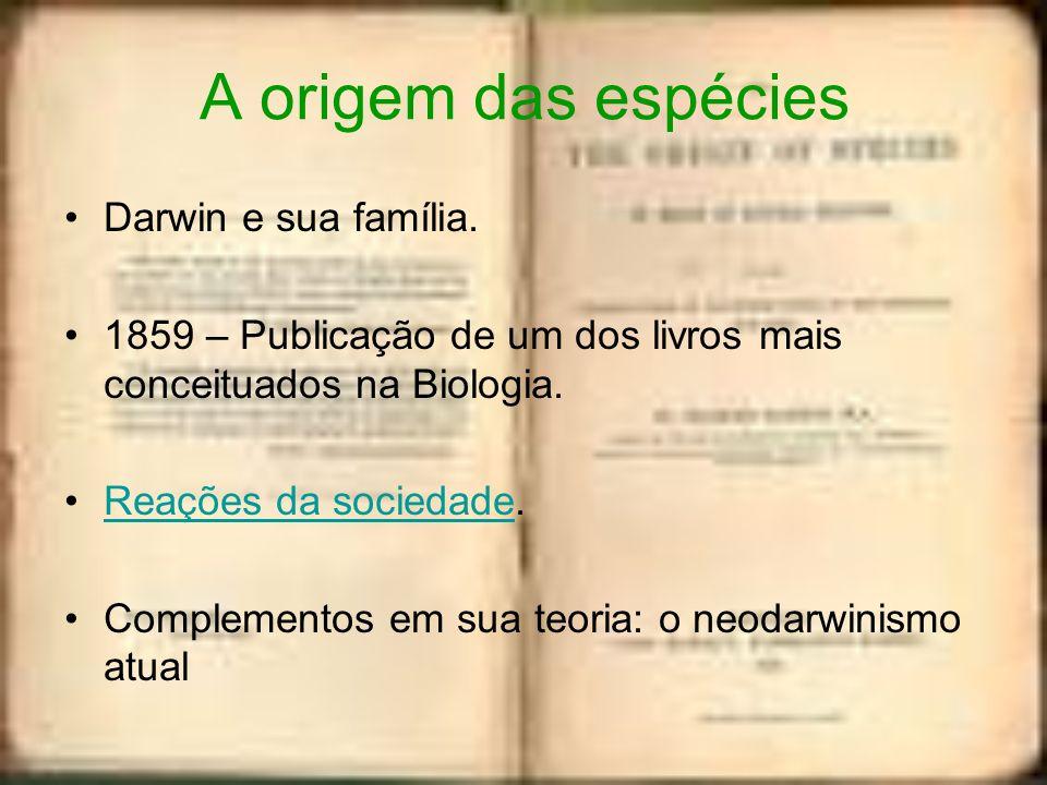 A origem das espécies Darwin e sua família. 1859 – Publicação de um dos livros mais conceituados na Biologia. Reações da sociedade.Reações da sociedad