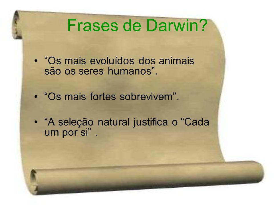 Frases de Darwin? Os mais evoluídos dos animais são os seres humanos. Os mais fortes sobrevivem. A seleção natural justifica o Cada um por si.
