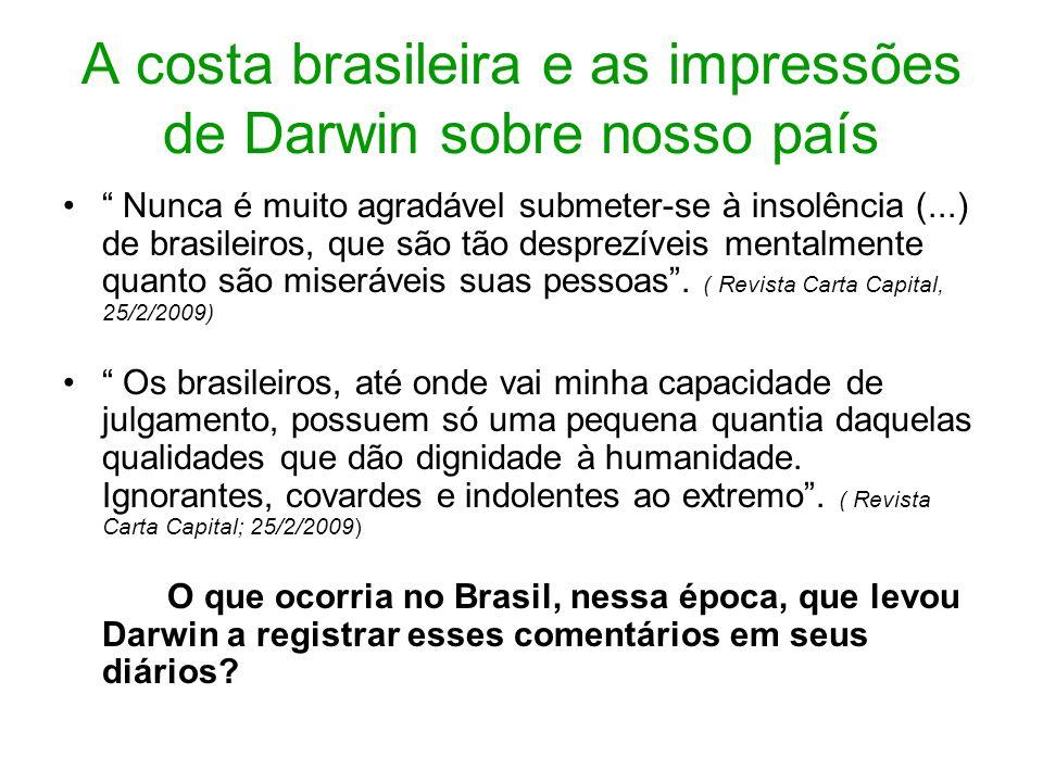 A costa brasileira e as impressões de Darwin sobre nosso país Nunca é muito agradável submeter-se à insolência (...) de brasileiros, que são tão despr