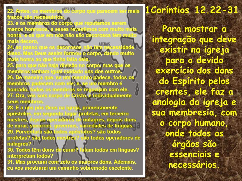 1Coríntios 12.22-31 Para mostrar a integração que deve existir na igreja para o devido exercício dos dons do Espírito pelos crentes, ele faz a analogi