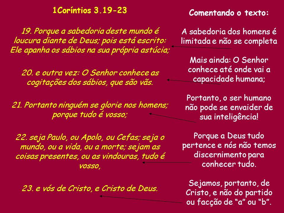 1Coríntios 3.19-23 19.