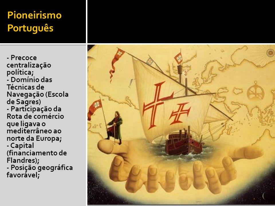 Pioneirismo Português - Precoce centralização política; - Domínio das Técnicas de Navegação (Escola de Sagres) - Participação da Rota de comércio que