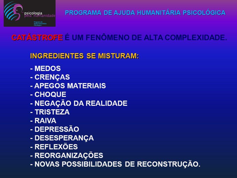 PROGRAMA DE AJUDA HUMANITÁRIA PSICOLÓGICA INGREDIENTES SE MISTURAM: - MEDOS - CRENÇAS - APEGOS MATERIAIS - CHOQUE - NEGAÇÃO DA REALIDADE - TRISTEZA -