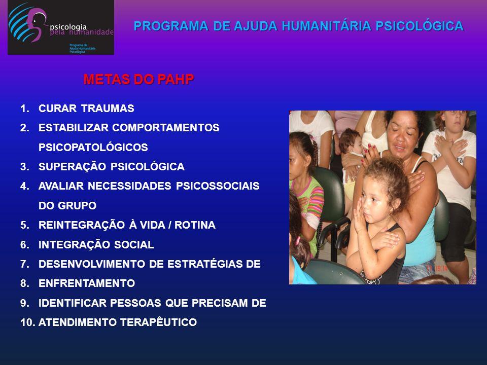PROGRAMA DE AJUDA HUMANITÁRIA PSICOLÓGICA 1.CURAR TRAUMAS 2.ESTABILIZAR COMPORTAMENTOS PSICOPATOLÓGICOS 3.SUPERAÇÃO PSICOLÓGICA 4.AVALIAR NECESSIDADES