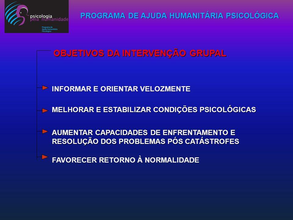OBJETIVOS DA INTERVENÇÃO GRUPAL INFORMAR E ORIENTAR VELOZMENTE MELHORAR E ESTABILIZAR CONDIÇÕES PSICOLÓGICAS AUMENTAR CAPACIDADES DE ENFRENTAMENTO E R