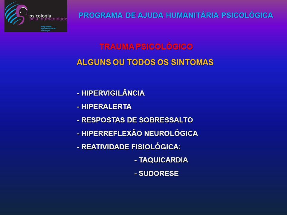 PROGRAMA DE AJUDA HUMANITÁRIA PSICOLÓGICA - HIPERVIGILÂNCIA - HIPERALERTA - RESPOSTAS DE SOBRESSALTO - HIPERREFLEXÃO NEUROLÓGICA - REATIVIDADE FISIOLÓ
