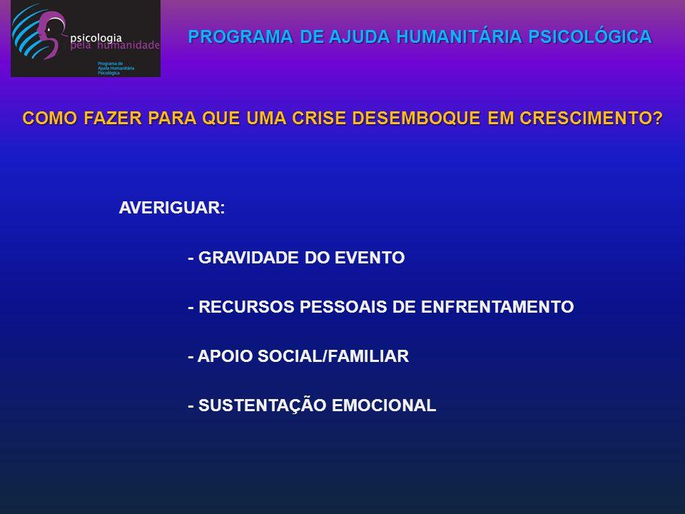 PROGRAMA DE AJUDA HUMANITÁRIA PSICOLÓGICA ESSA CAPACITAÇÃO BUSCA OFERECER, ALÉM DO ALÍVIO AOS SOFRIMENTOS CAUSADOS PELA TRAGÉDIA, APOIO PSICOEDUCATIVO AOS PAIS, AUTORIDADES E PROFESSORES; FORNECER FERRAMENTAS PARA LIDAR MELHOR COM AS CRIANÇAS, ADOLESCENTES E ADULTOS TRAUMATIZADOS E, DESTA FORMA, EVITAR SINTOMAS FUTUROS COMO:AGRESSIVIDADES,VIOLÊNCIAS, DIFICULDADES ESCOLARES, PÂNICOS,DESESPERANÇAS,DEPRESSÕES, USO ABUSIVO DE DROGAS E ÁLCOOL E IDÉIAS SUICIDAS, INCLUSIVE, ENTRE OUTROS.