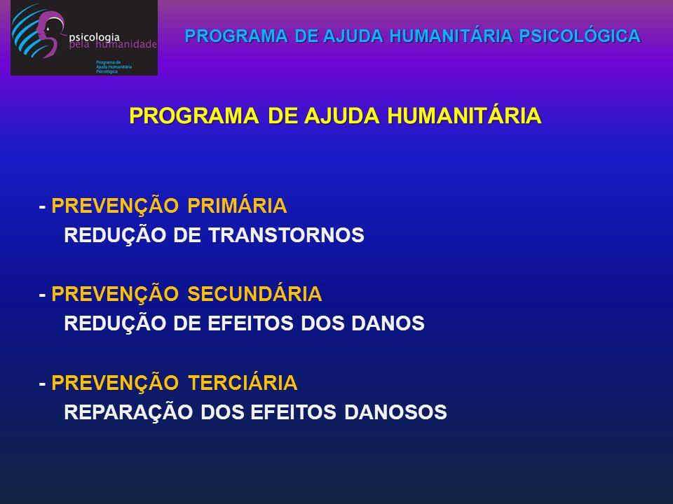 PROGRAMA DE AJUDA HUMANITÁRIA PSICOLÓGICA PROGRAMA DE AJUDA HUMANITÁRIA - PREVENÇÃO PRIMÁRIA REDUÇÃO DE TRANSTORNOS - PREVENÇÃO SECUNDÁRIA REDUÇÃO DE