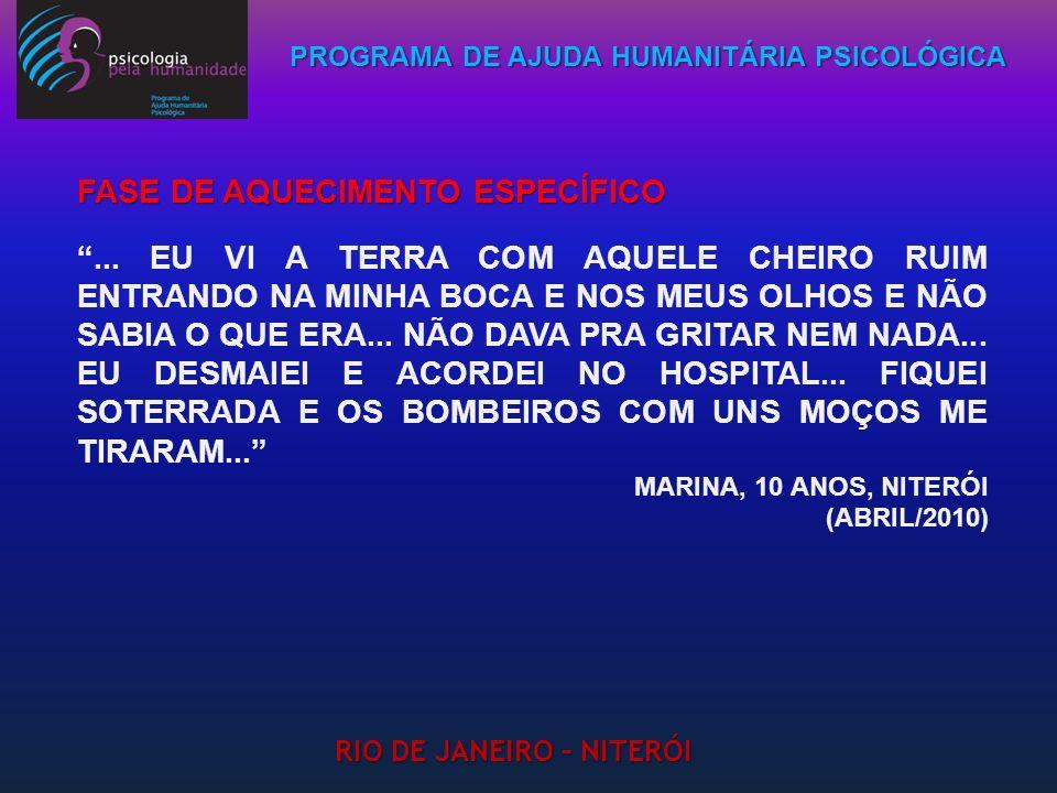 PROGRAMA DE AJUDA HUMANITÁRIA PSICOLÓGICA RIO DE JANEIRO – NITERÓI... EU VI A TERRA COM AQUELE CHEIRO RUIM ENTRANDO NA MINHA BOCA E NOS MEUS OLHOS E N