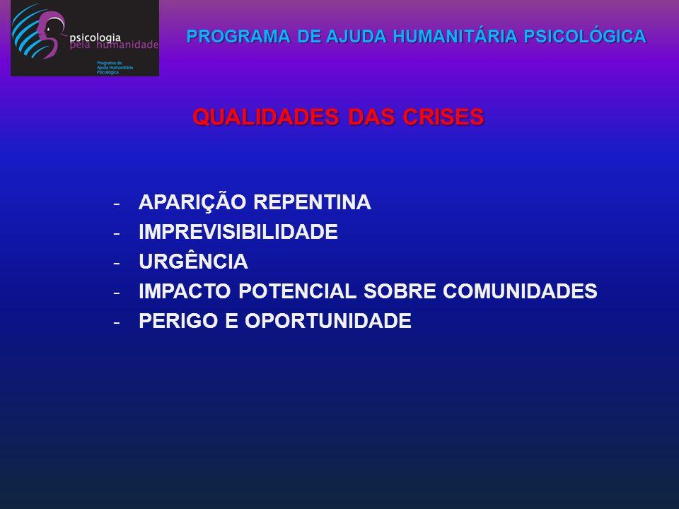 PROGRAMA DE AJUDA HUMANITÁRIA PSICOLÓGICA QUALIDADES DAS CRISES -APARIÇÃO REPENTINA -IMPREVISIBILIDADE -URGÊNCIA -IMPACTO POTENCIAL SOBRE COMUNIDADES