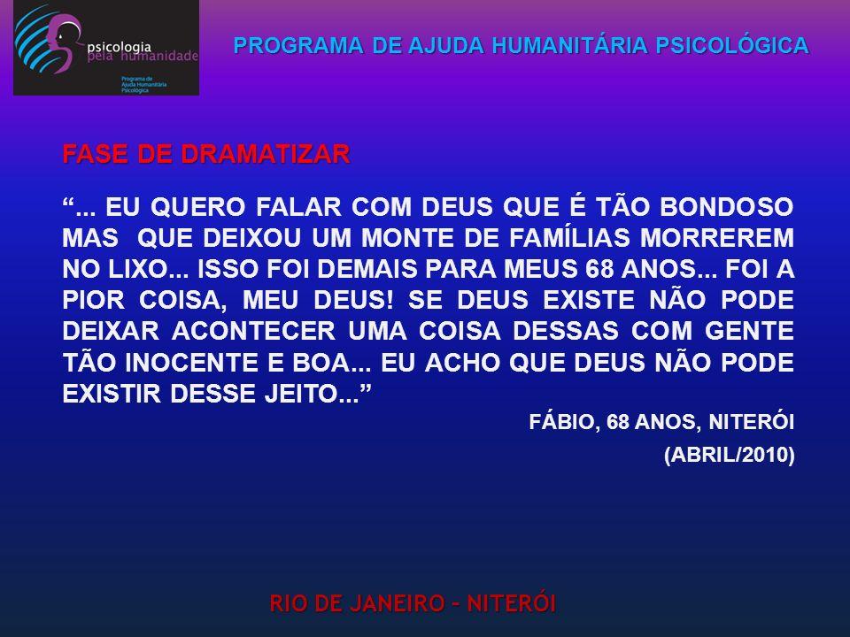 PROGRAMA DE AJUDA HUMANITÁRIA PSICOLÓGICA RIO DE JANEIRO – NITERÓI... EU QUERO FALAR COM DEUS QUE É TÃO BONDOSO MAS QUE DEIXOU UM MONTE DE FAMÍLIAS MO