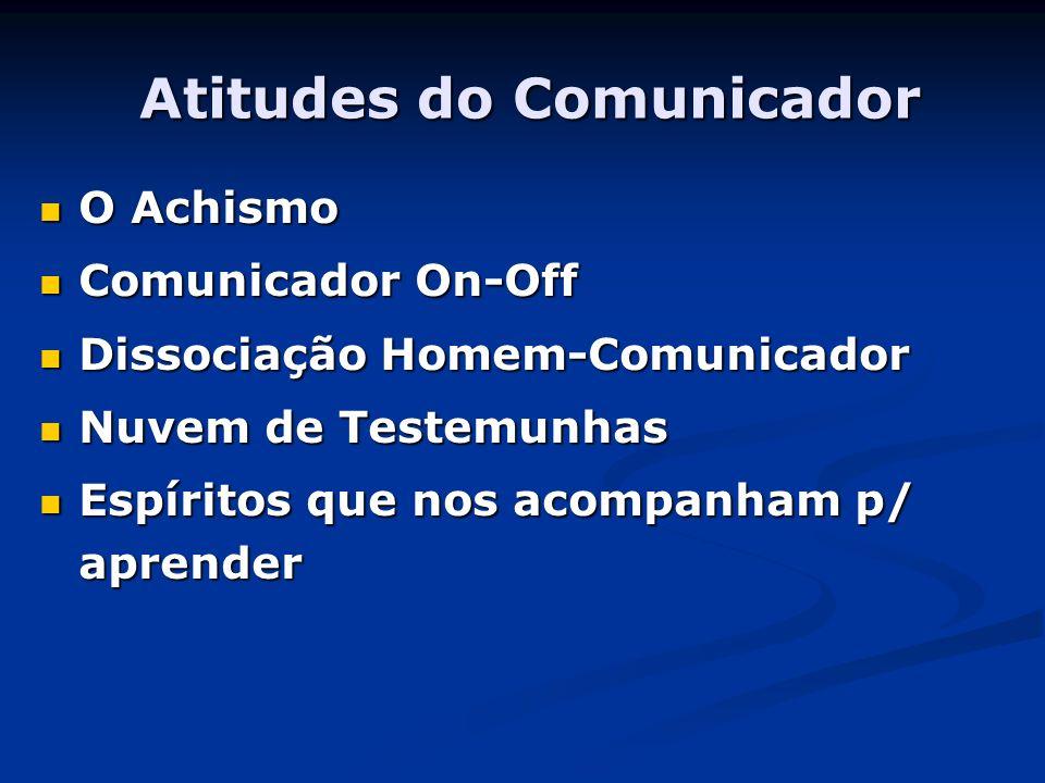 Atitudes do Comunicador O Achismo O Achismo Comunicador On-Off Comunicador On-Off Dissociação Homem-Comunicador Dissociação Homem-Comunicador Nuvem de