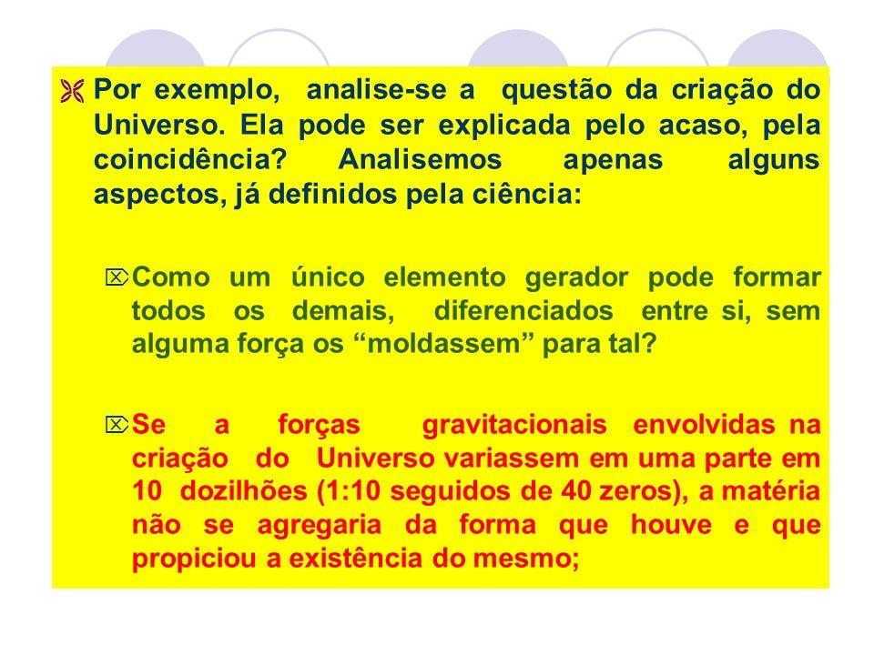 Por exemplo, analise-se a questão da criação do Universo.