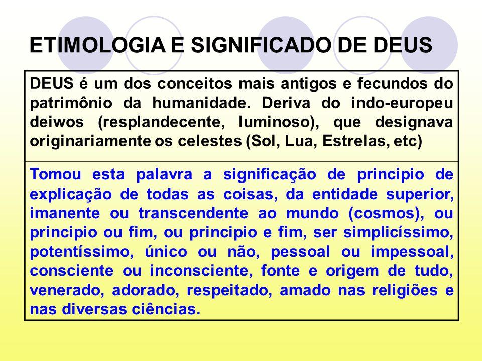 ETIMOLOGIA E SIGNIFICADO DE DEUS DEUS é um dos conceitos mais antigos e fecundos do patrimônio da humanidade.