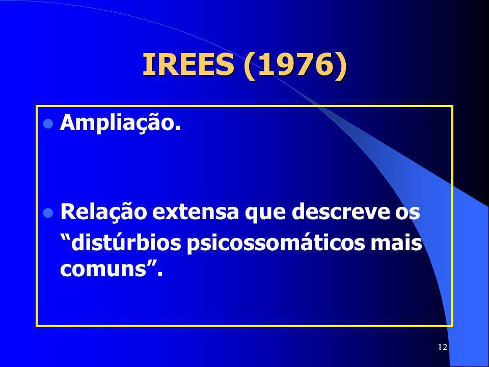 12 IREES (1976) Ampliação. Relação extensa que descreve os distúrbios psicossomáticos mais comuns.