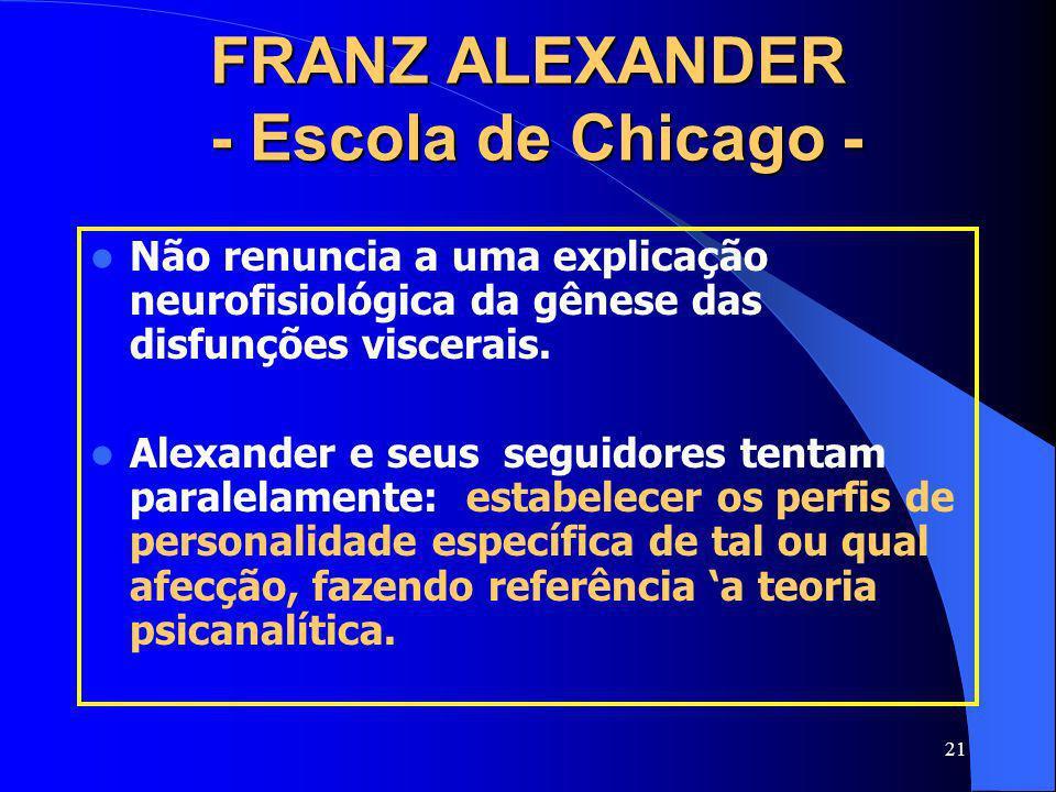 21 FRANZ ALEXANDER - Escola de Chicago - Não renuncia a uma explicação neurofisiológica da gênese das disfunções viscerais. Alexander e seus seguidore