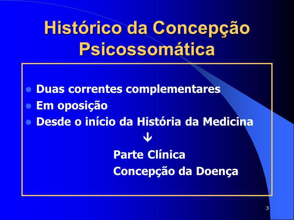 3 Histórico da Concepção Psicossomática Duas correntes complementares Em oposição Desde o início da História da Medicina Parte Clínica Concepção da Do