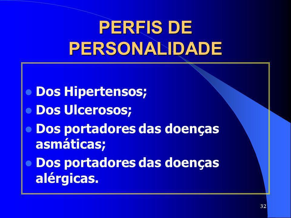 32 PERFIS DE PERSONALIDADE Dos Hipertensos; Dos Ulcerosos; Dos portadores das doenças asmáticas; Dos portadores das doenças alérgicas.