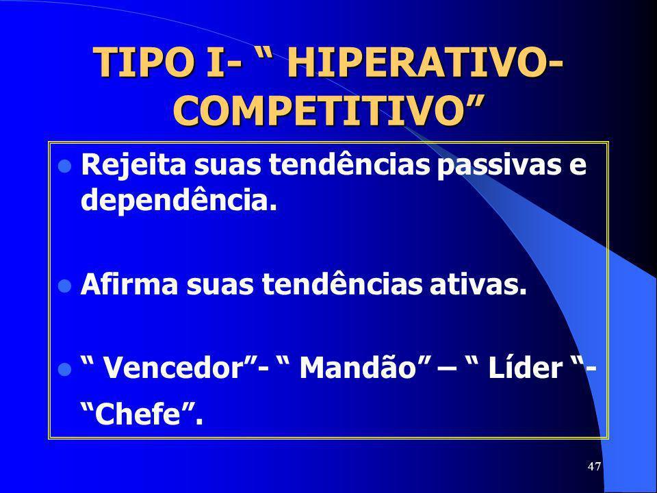 47 TIPO I- HIPERATIVO- COMPETITIVO Rejeita suas tendências passivas e dependência. Afirma suas tendências ativas. Vencedor- Mandão – Líder - Chefe.