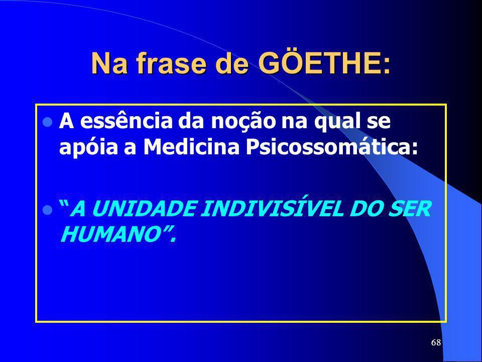 68 Na frase de GÖETHE: A essência da noção na qual se apóia a Medicina Psicossomática: A UNIDADE INDIVISÍVEL DO SER HUMANO.