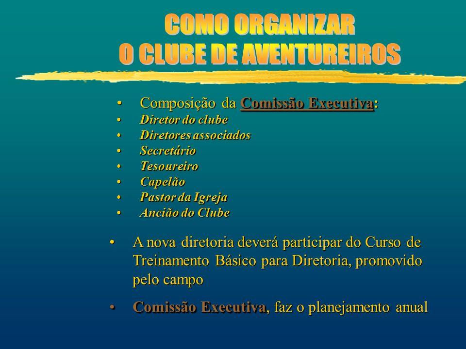 Comissão ExecutivaComposição da Comissão Executiva: Diretor do clube Diretores associados Secretário Tesoureiro Capelão Pastor da Igreja Ancião do Clu