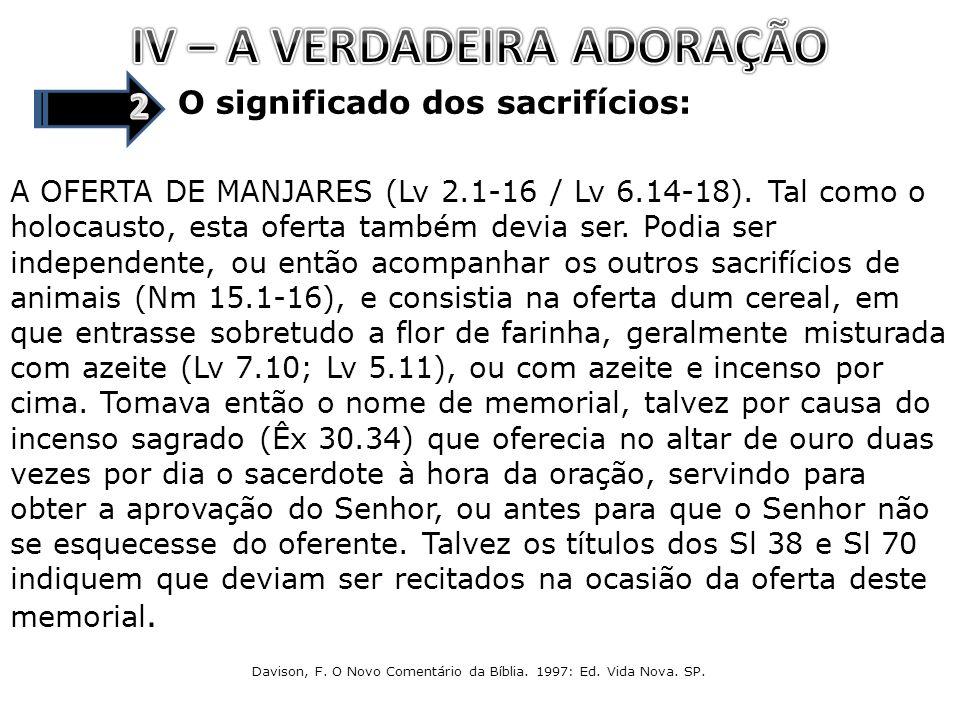 O significado dos sacrifícios: A OFERTA DE MANJARES (Lv 2.1-16 / Lv 6.14-18). Tal como o holocausto, esta oferta também devia ser. Podia ser independe