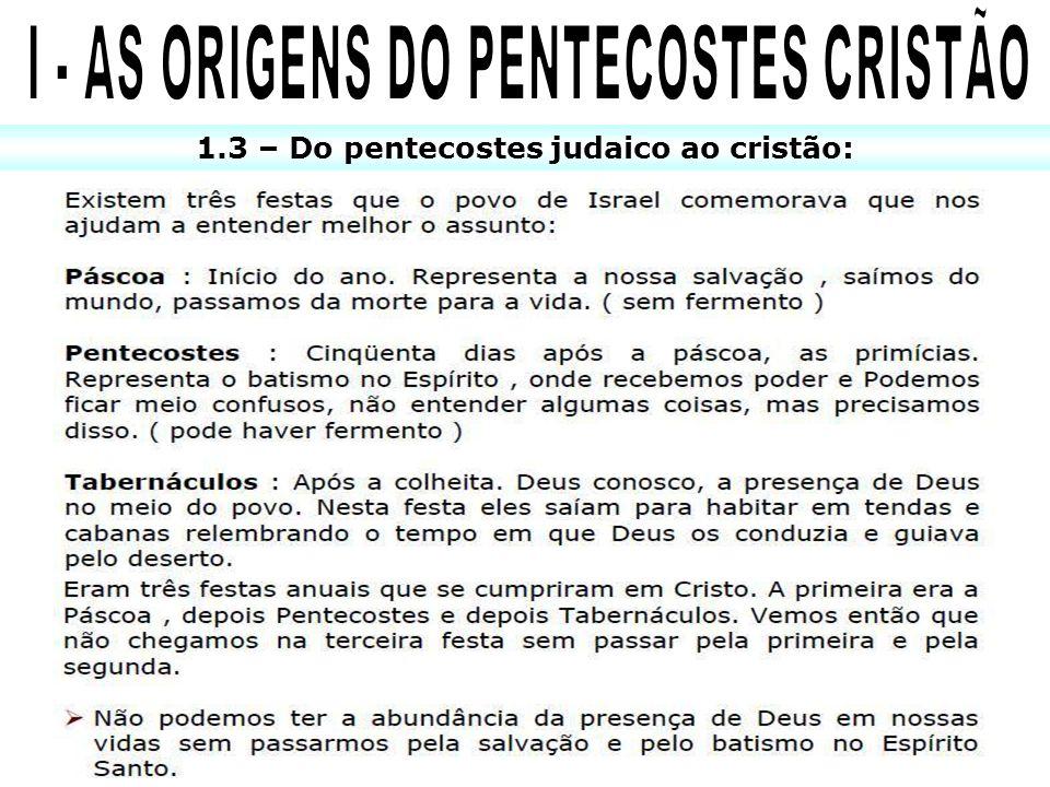 1.3 – Do pentecostes judaico ao cristão:
