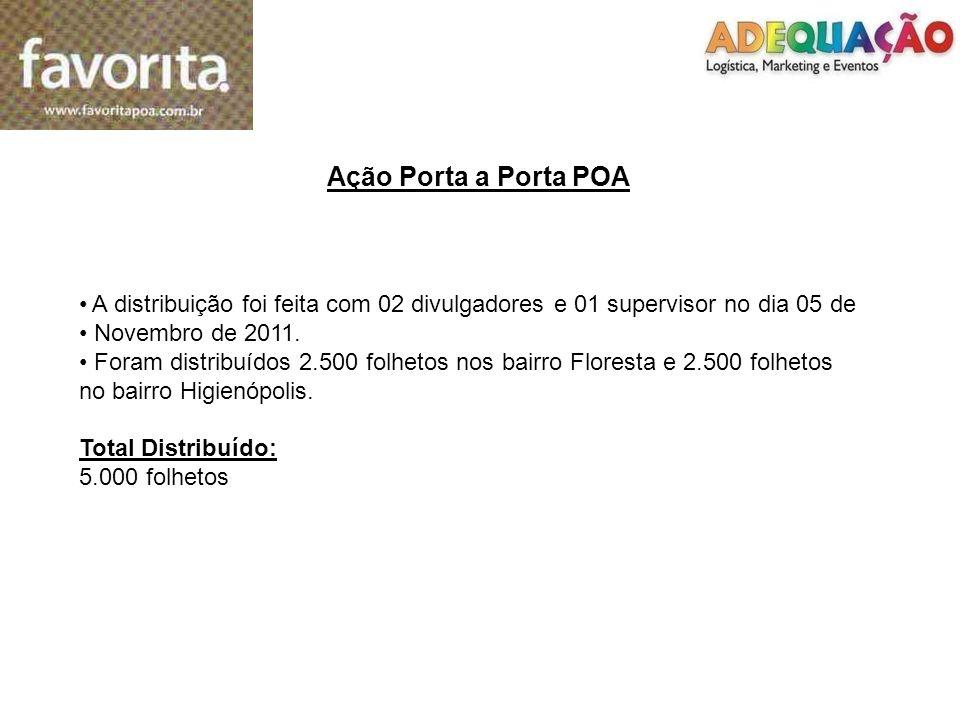 A distribuição foi feita com 02 divulgadores e 01 supervisor no dia 05 de Novembro de 2011. Foram distribuídos 2.500 folhetos nos bairro Floresta e 2.