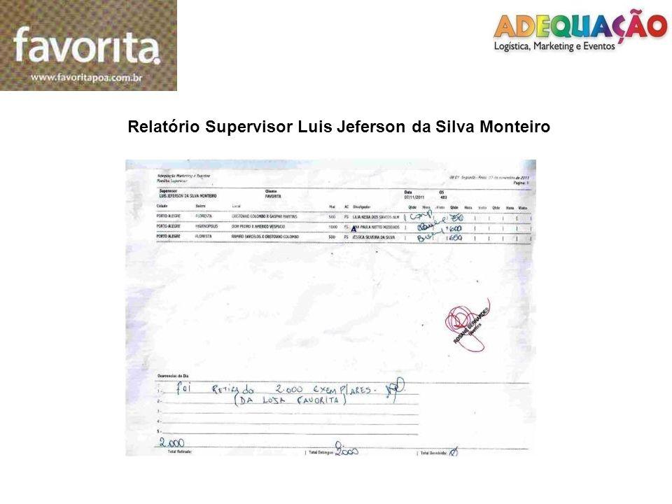 Relatório Supervisor Luis Jeferson da Silva Monteiro