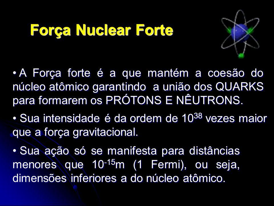 Força Nuclear Forte A Força forte é a que mantém a coesão do núcleo atômico garantindo a união dos QUARKS para formarem os PRÓTONS E NÊUTRONS. A Força