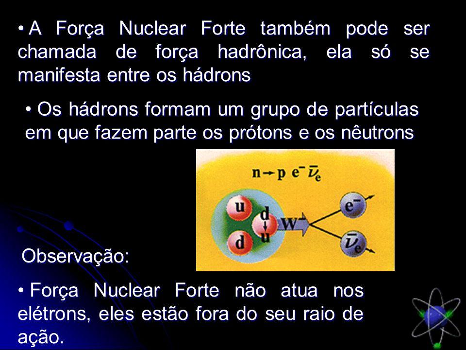 A Força Nuclear Forte também pode ser chamada de força hadrônica, ela só se manifesta entre os hádrons A Força Nuclear Forte também pode ser chamada d
