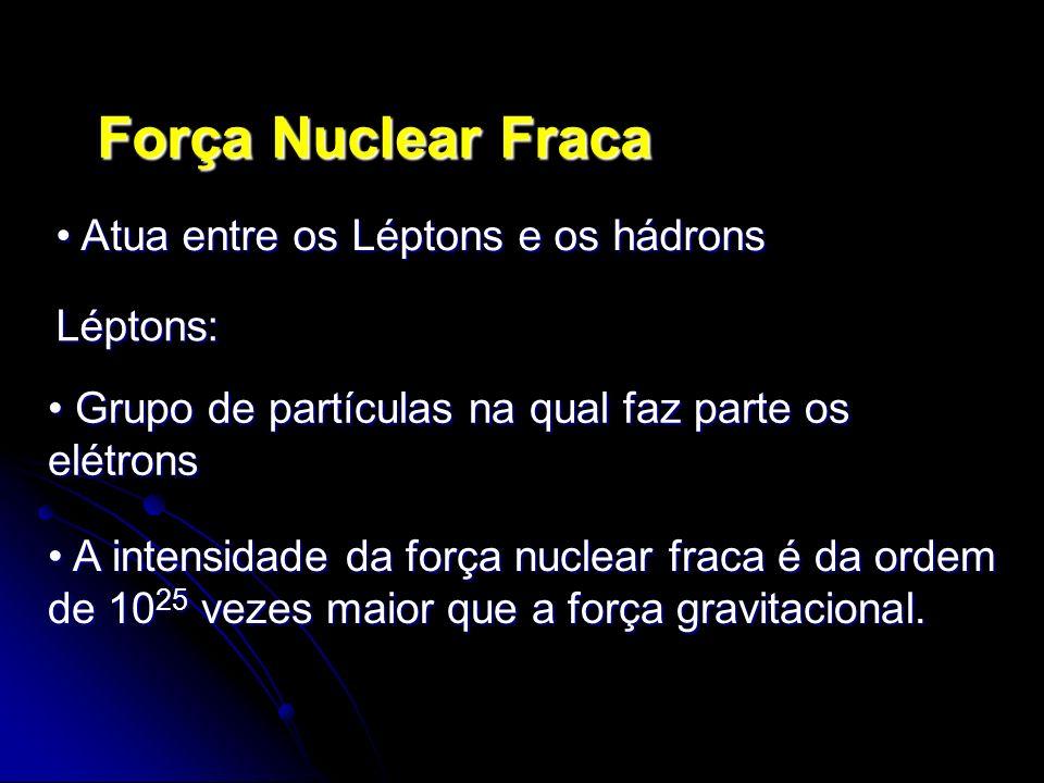 Atua entre os Léptons e os hádrons Atua entre os Léptons e os hádrons Grupo de partículas na qual faz parte os elétrons Grupo de partículas na qual fa