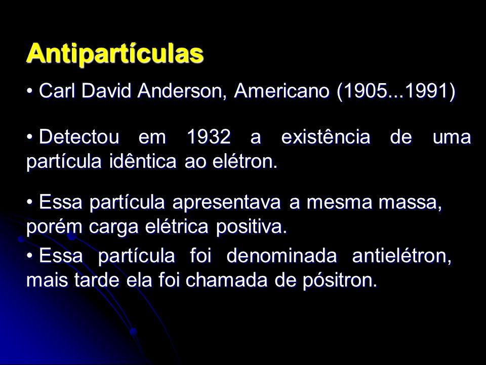 Antipartículas Carl David Anderson, Americano (1905...1991) Carl David Anderson, Americano (1905...1991) Detectou em 1932 a existência de uma partícul