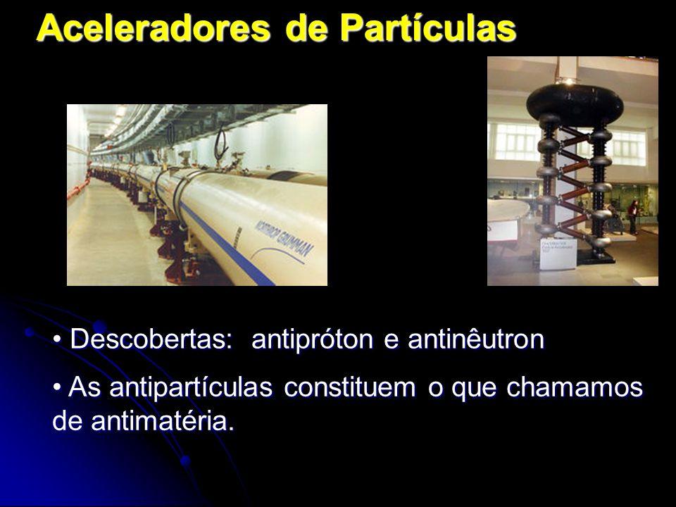 Aceleradores de Partículas As antipartículas constituem o que chamamos de antimatéria. As antipartículas constituem o que chamamos de antimatéria. Des