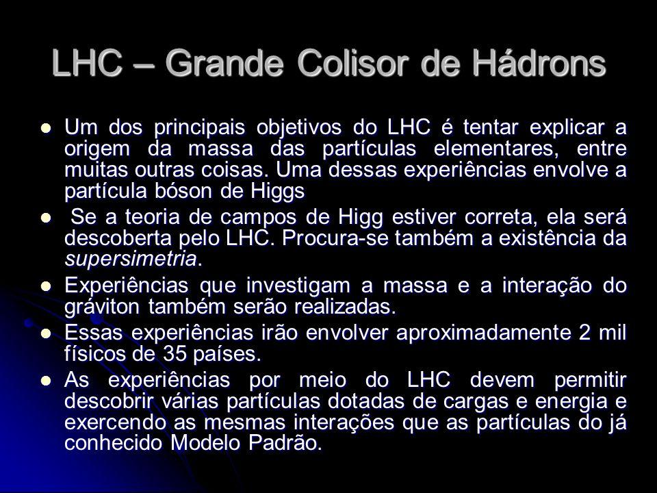 Um dos principais objetivos do LHC é tentar explicar a origem da massa das partículas elementares, entre muitas outras coisas. Uma dessas experiências