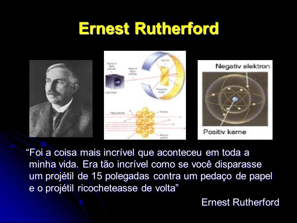 Ernest Rutherford Foi a coisa mais incrível que aconteceu em toda a minha vida. Era tão incrível como se você disparasse um projétil de 15 polegadas c