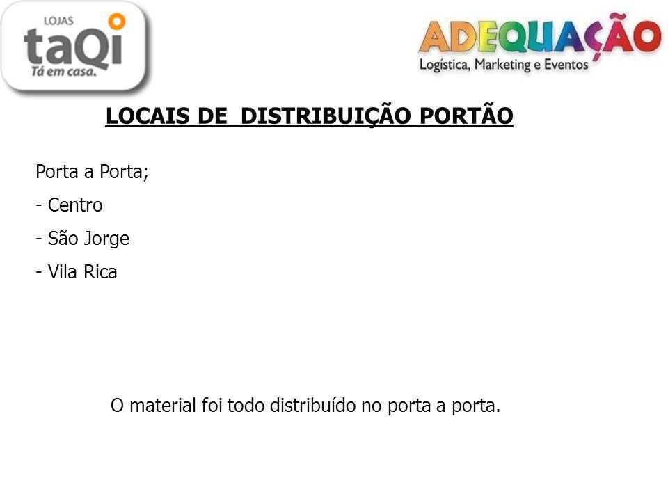 LOCAIS DE DISTRIBUIÇÃO PORTÃO Porta a Porta; - Centro - São Jorge - Vila Rica O material foi todo distribuído no porta a porta.