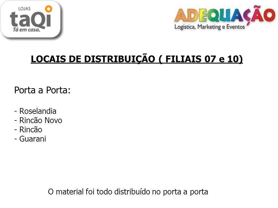 LOCAIS DE DISTRIBUIÇÃO ( FILIAIS 07 e 10) Porta a Porta: - Roselandia - Rincão Novo - Rincão - Guarani O material foi todo distribuído no porta a porta