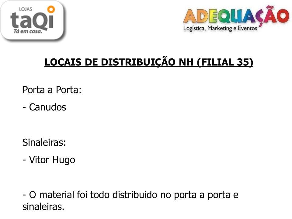 LOCAIS DE DISTRIBUIÇÃO NH (FILIAL 35) Porta a Porta: - Canudos Sinaleiras: - Vitor Hugo - O material foi todo distribuido no porta a porta e sinaleiras.