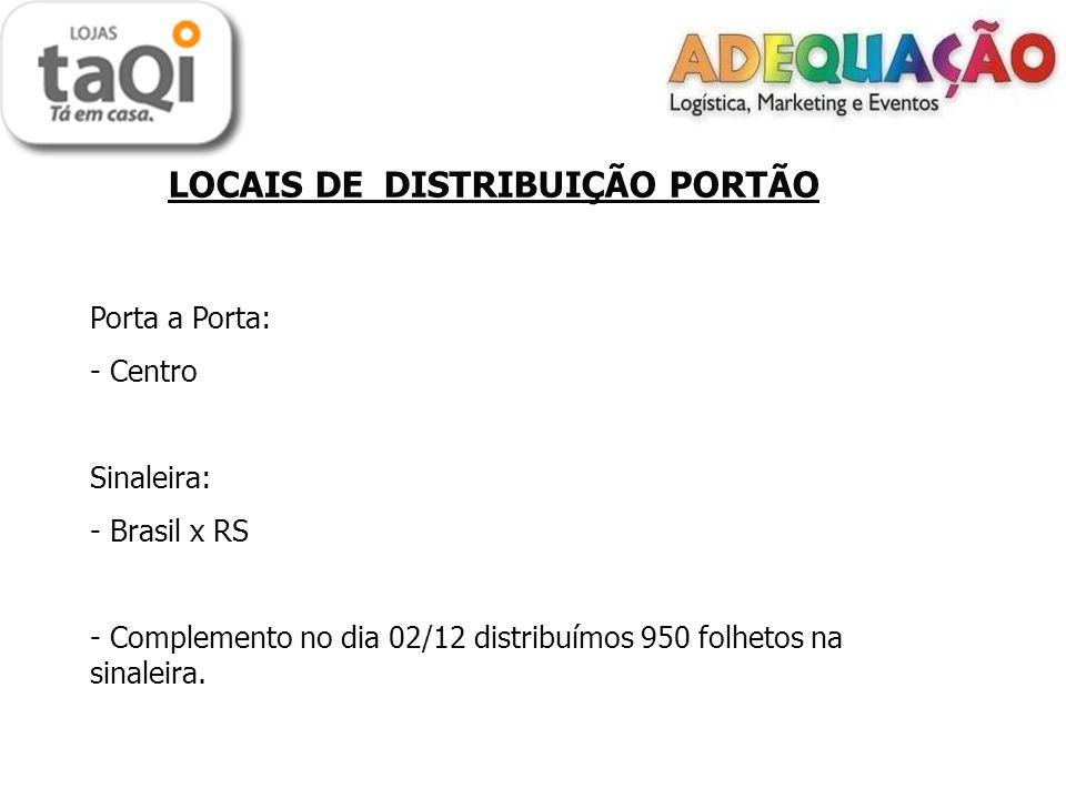 LOCAIS DE DISTRIBUIÇÃO PORTÃO Porta a Porta: - Centro Sinaleira: - Brasil x RS - Complemento no dia 02/12 distribuímos 950 folhetos na sinaleira.