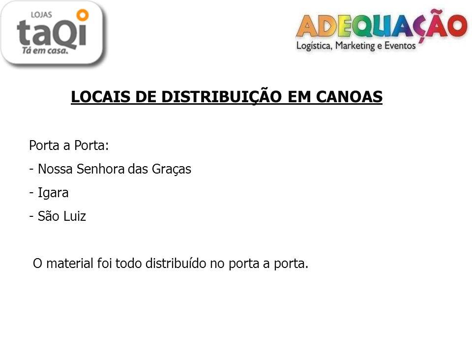 LOCAIS DE DISTRIBUIÇÃO EM CANOAS Porta a Porta: - Nossa Senhora das Graças - Igara - São Luiz O material foi todo distribuído no porta a porta.